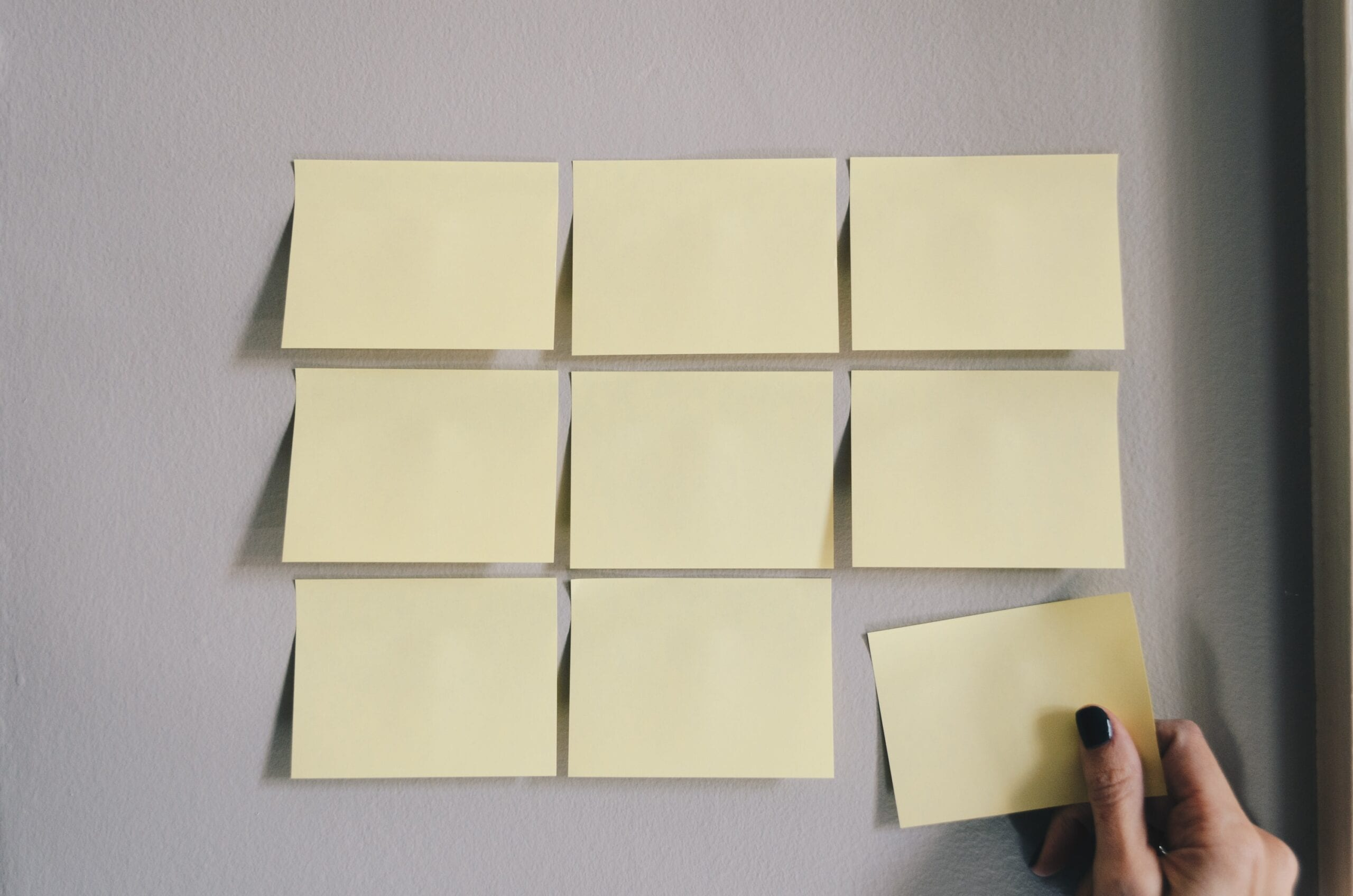 six white sticky notes
